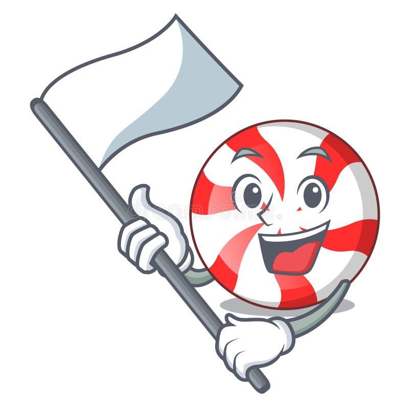 Com desenhos animados da mascote dos doces de pastilha de hortelã da bandeira ilustração royalty free