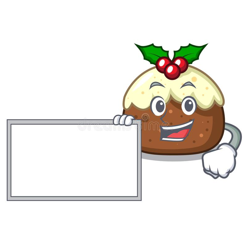 Com desenhos animados do caráter do bolo do fruto da placa ilustração do vetor