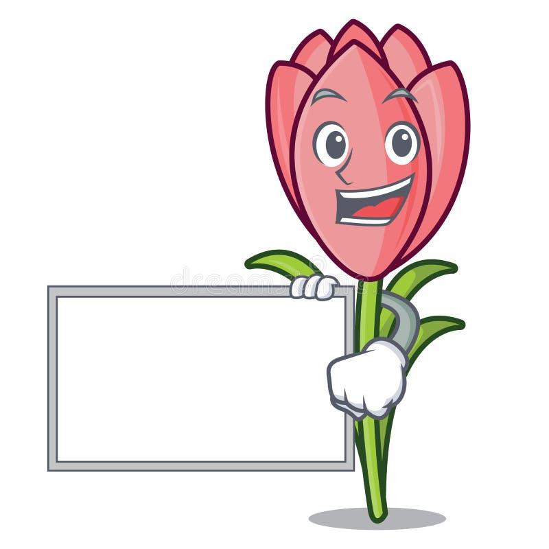 Com desenhos animados do caráter da flor do açafrão da placa ilustração royalty free