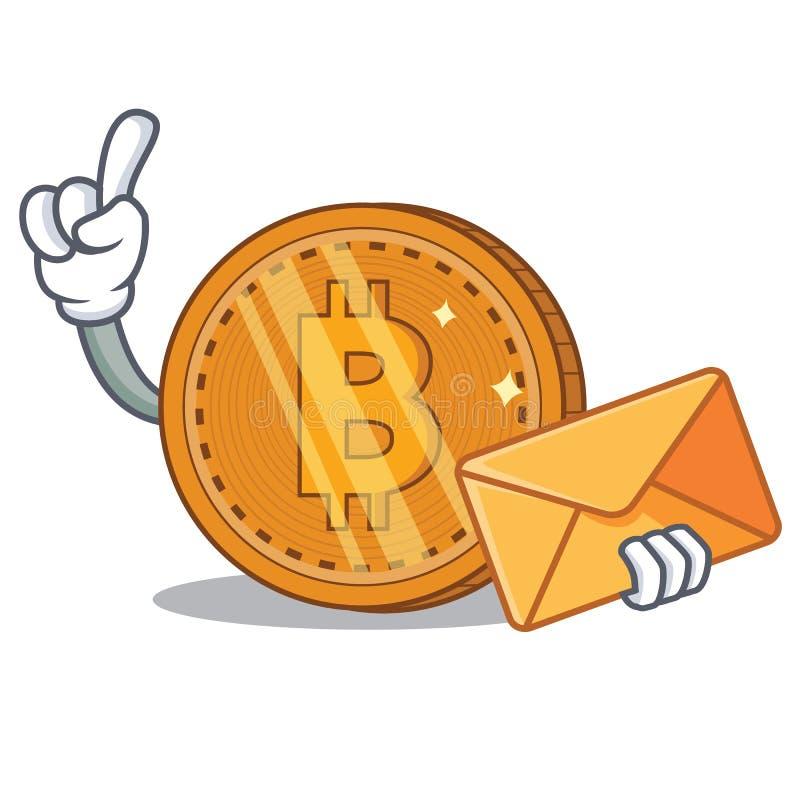 Com desenhos animados do caráter da moeda do bitcoin do envelope ilustração royalty free