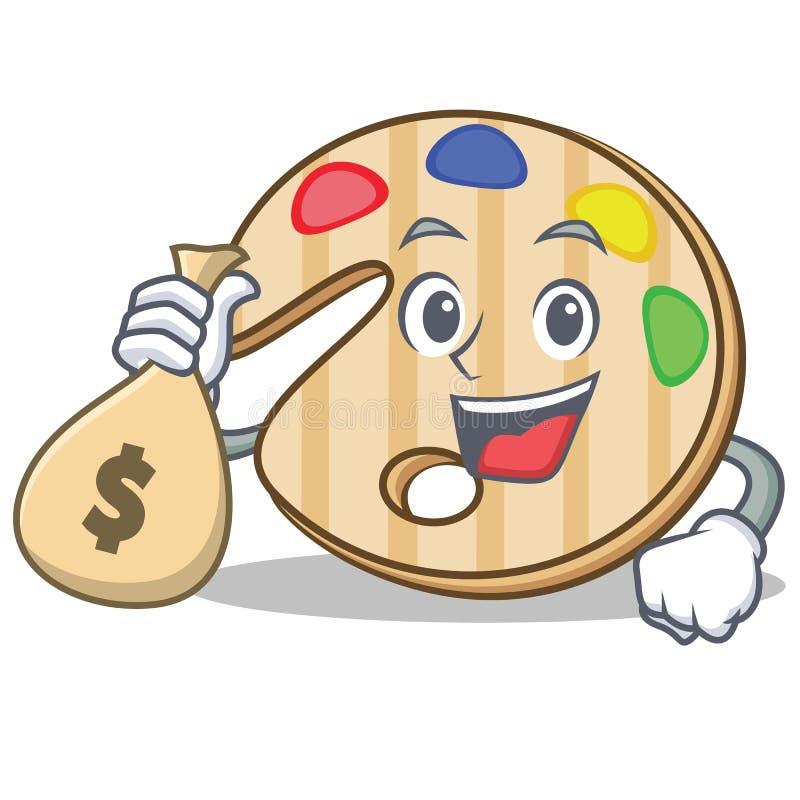 Com desenhos animados do caráter da paleta da pintura do saco do dinheiro ilustração stock