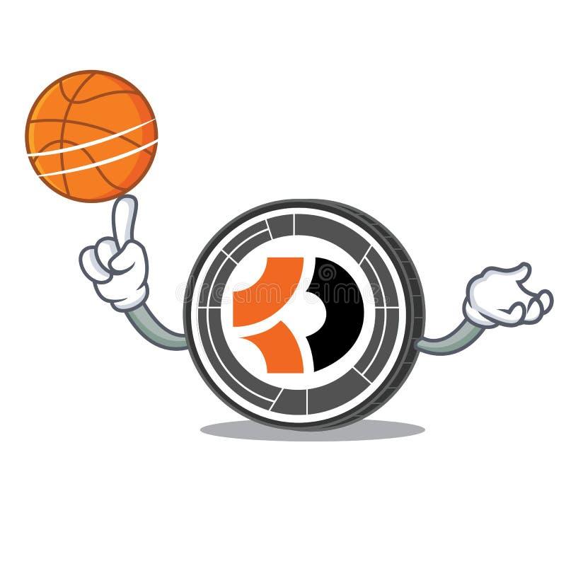 Com desenhos animados escuros do caráter de Bitcoin do basquetebol ilustração royalty free
