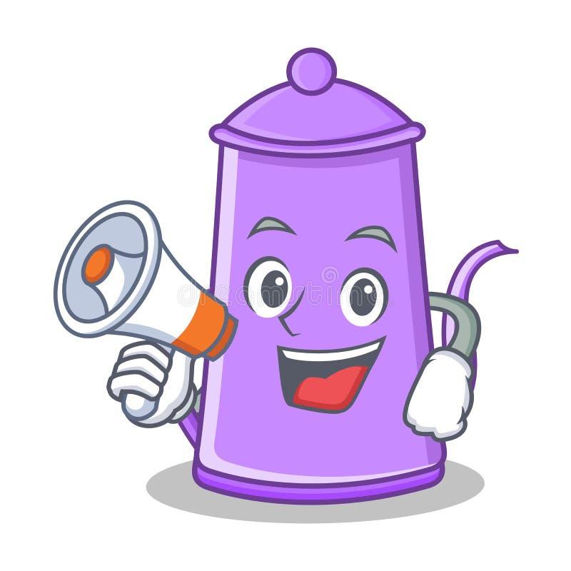 Com desenhos animados roxos do caráter do bule do megafone ilustração royalty free