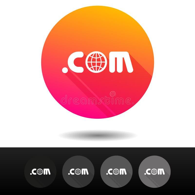 COM do domínio assina botões 5 símbolos níveis mais alto do domínio do Internet do vetor dos ícones ilustração stock