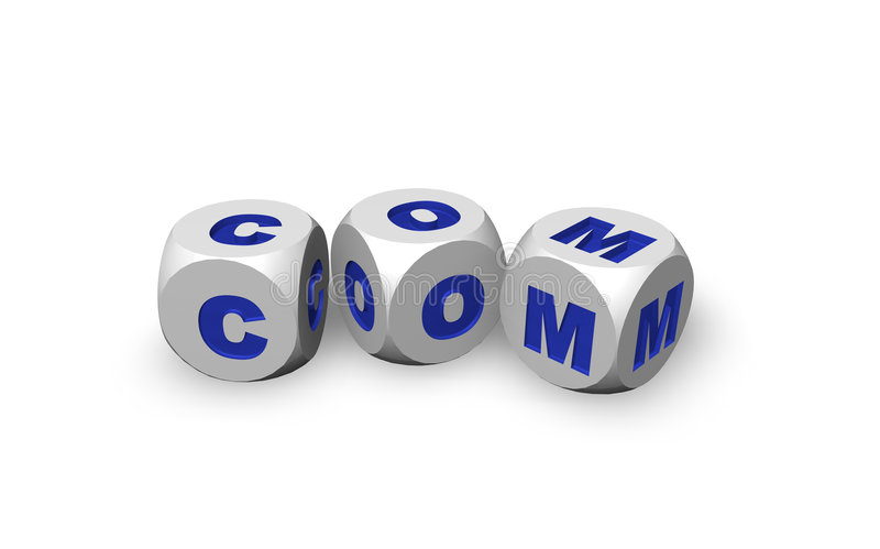 Com domain. Three dices with the letters com - 3d illustration royalty free illustration