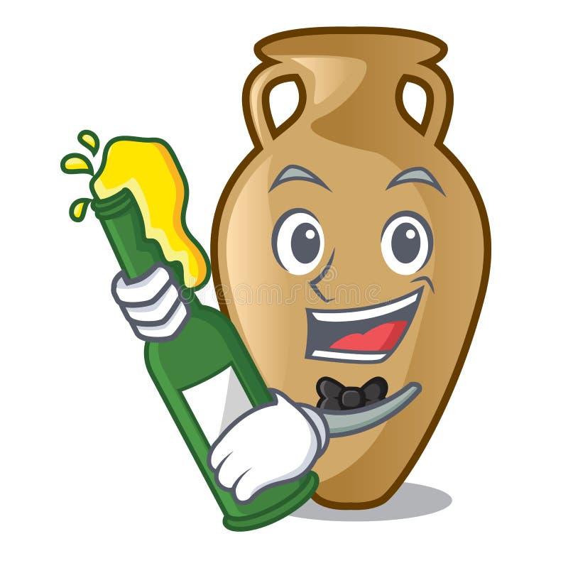 Com estilo dos desenhos animados da mascote da ânfora da cerveja ilustração stock