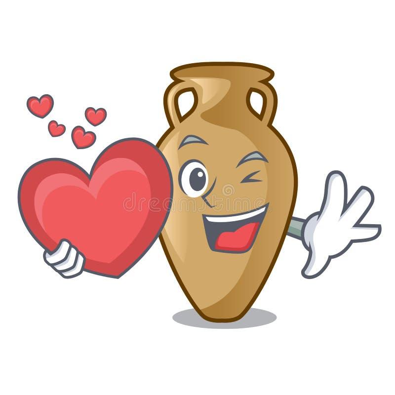 Com estilo dos desenhos animados da mascote da ânfora do coração ilustração do vetor