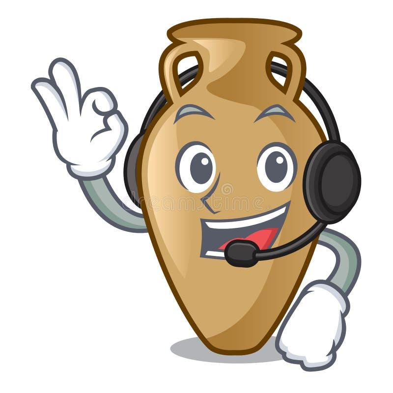 Com estilo dos desenhos animados da mascote da ânfora do fones de ouvido ilustração stock