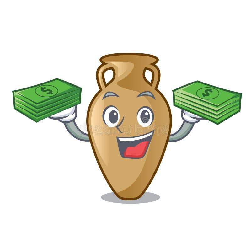 Com estilo dos desenhos animados da mascote da ânfora do saco do dinheiro ilustração stock