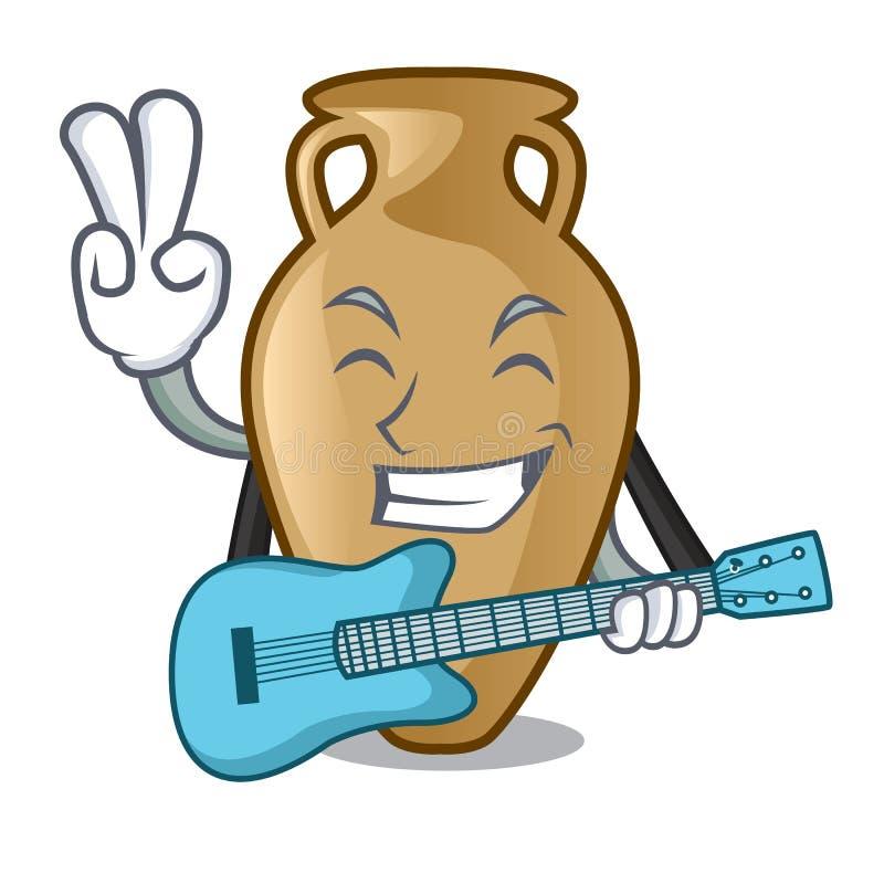 Com estilo dos desenhos animados da mascote da ânfora da guitarra ilustração do vetor