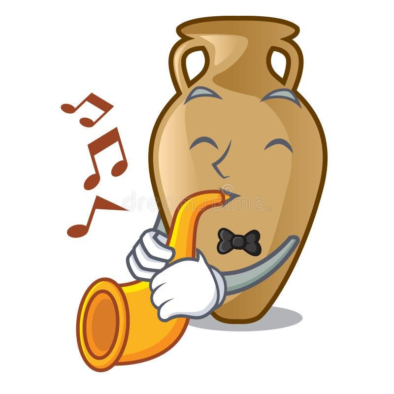 Com estilo dos desenhos animados da mascote da ânfora da trombeta ilustração stock
