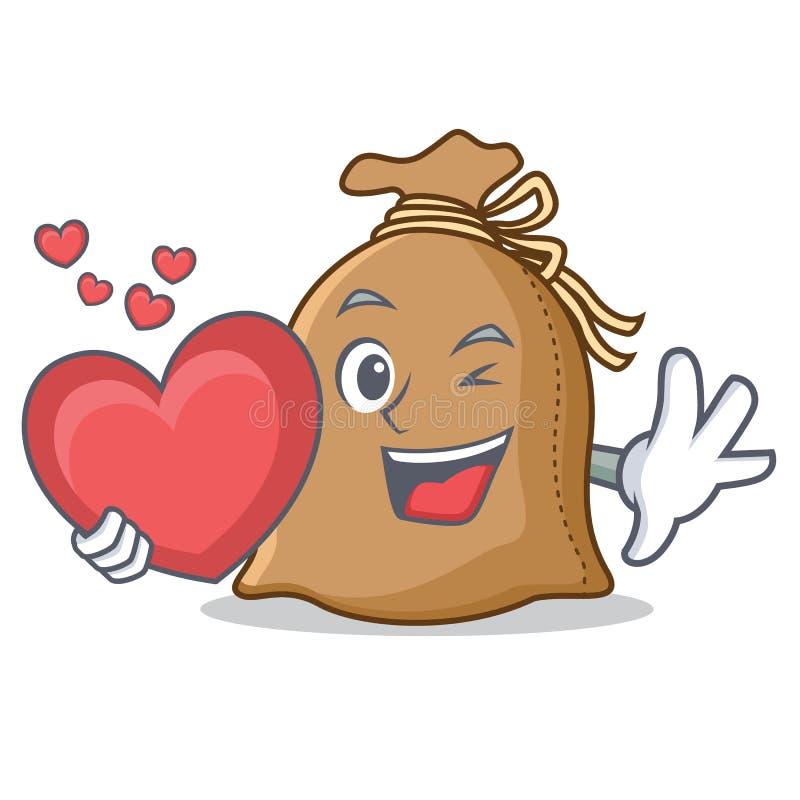 Com estilo dos desenhos animados da mascote do saco do coração ilustração do vetor