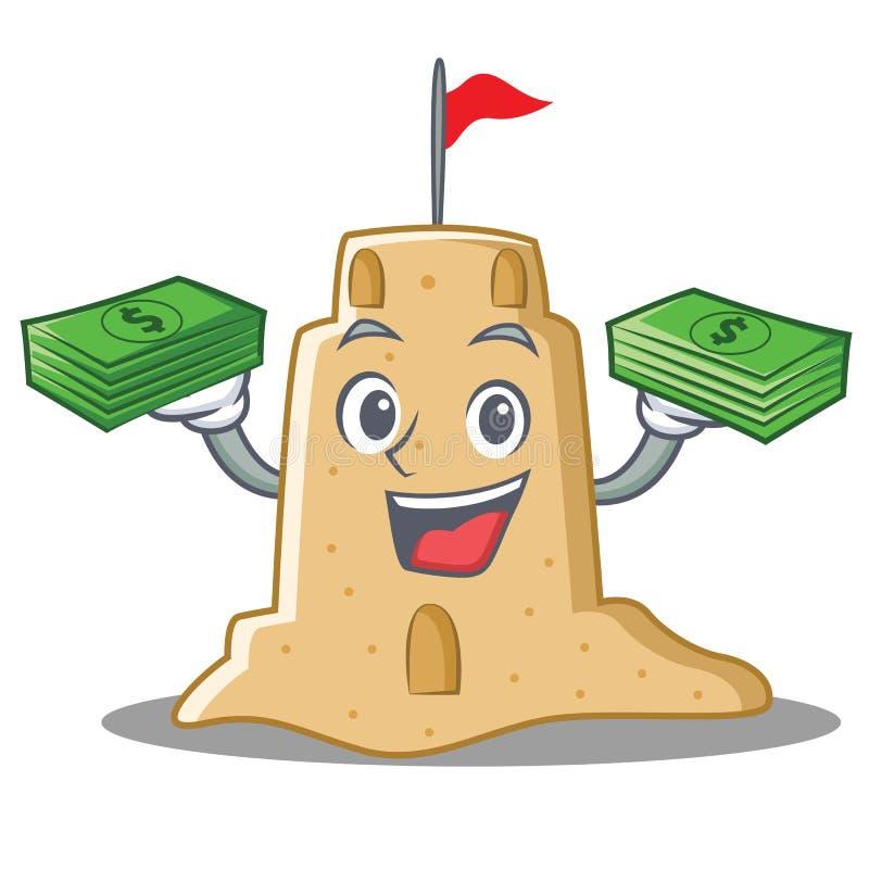 Com estilo dos desenhos animados do caráter do castelo de areia do dinheiro ilustração stock