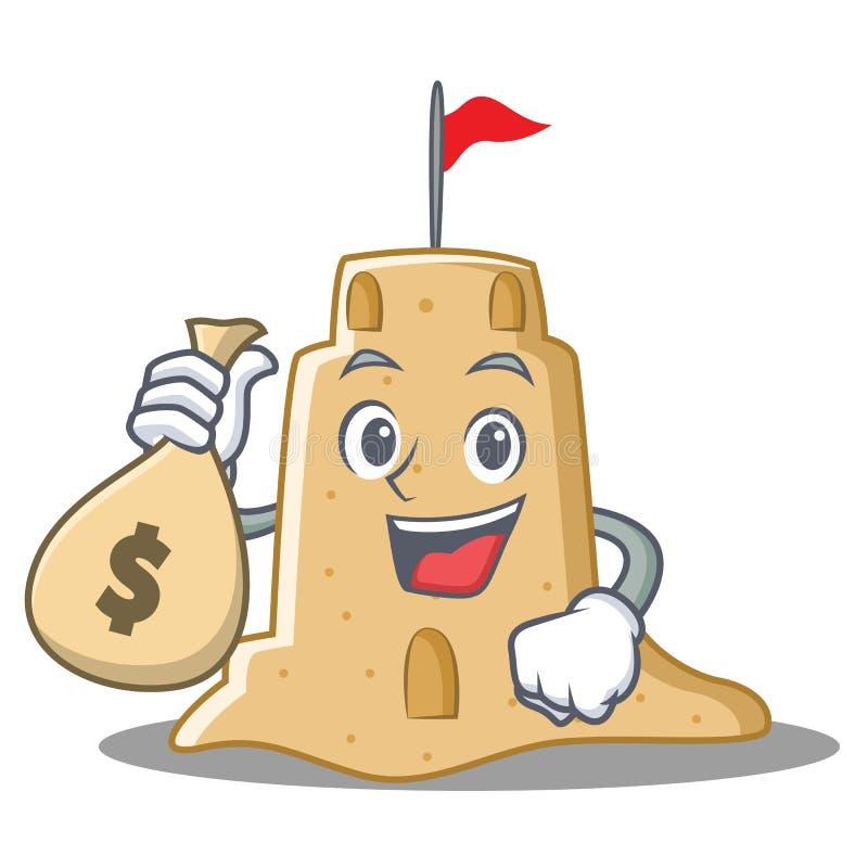 Com estilo dos desenhos animados do caráter do castelo de areia do saco do dinheiro ilustração do vetor