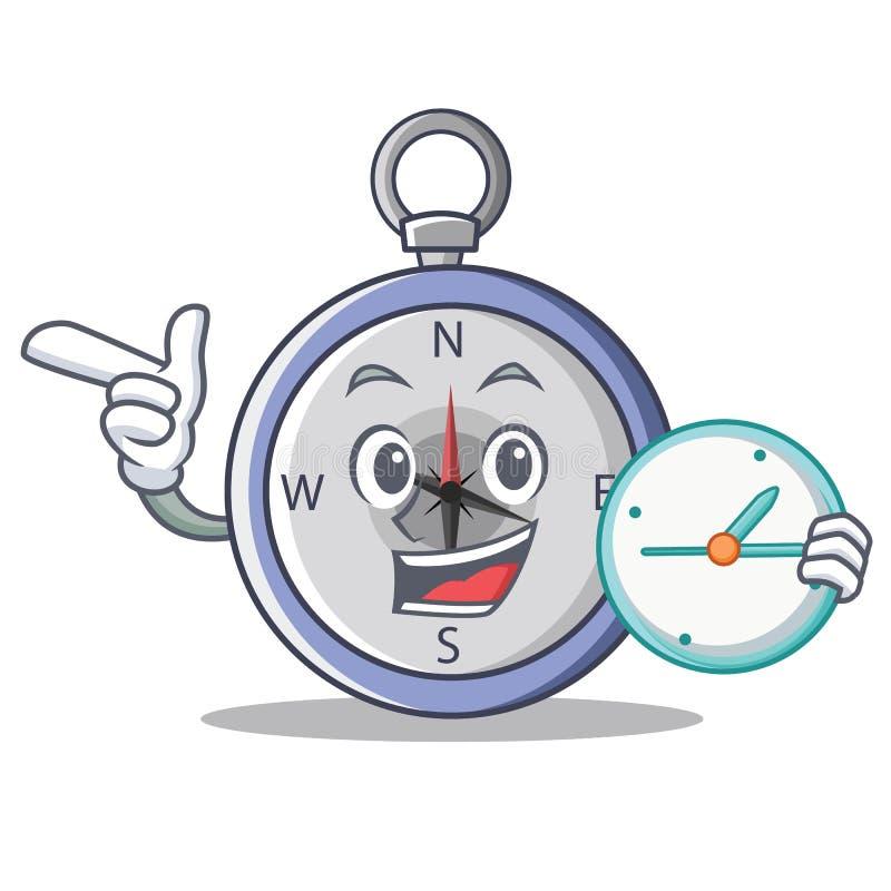 Com estilo dos desenhos animados do caráter do compasso do pulso de disparo ilustração do vetor