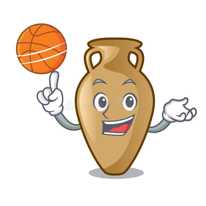 Com estilo dos desenhos animados do caráter da ânfora do basquetebol ilustração stock