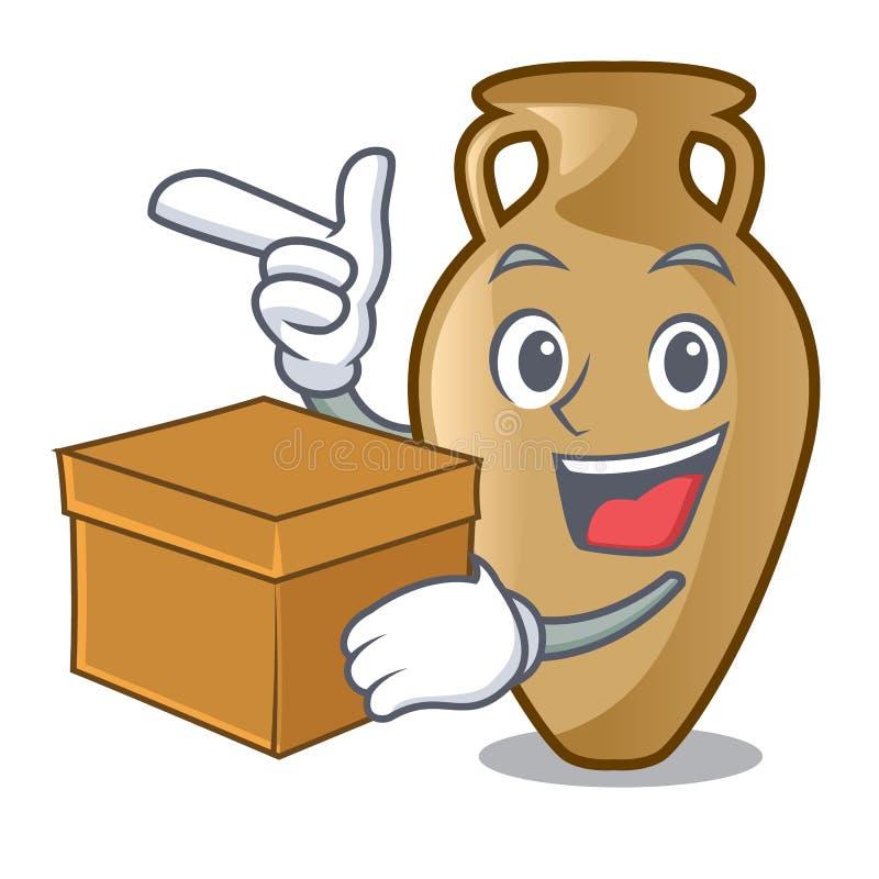 Com estilo dos desenhos animados do caráter da ânfora da caixa ilustração royalty free
