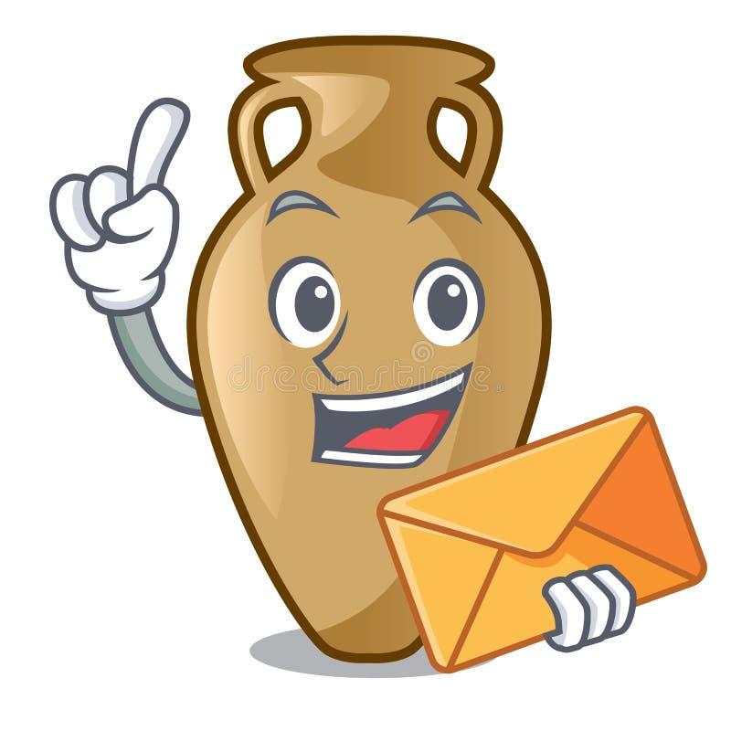 Com estilo dos desenhos animados do caráter da ânfora do envelope ilustração stock