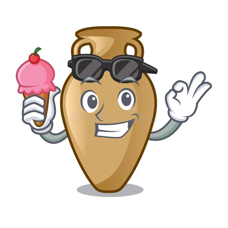 Com estilo dos desenhos animados do caráter da ânfora do gelado ilustração royalty free