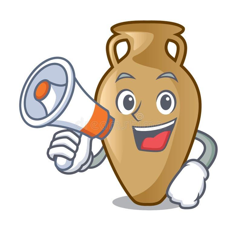 Com estilo dos desenhos animados do caráter da ânfora do megafone ilustração do vetor