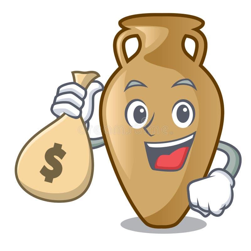 Com estilo dos desenhos animados do caráter da ânfora do saco do dinheiro ilustração stock