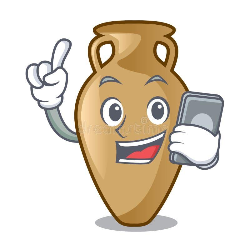 Com estilo dos desenhos animados do caráter da ânfora do telefone ilustração royalty free