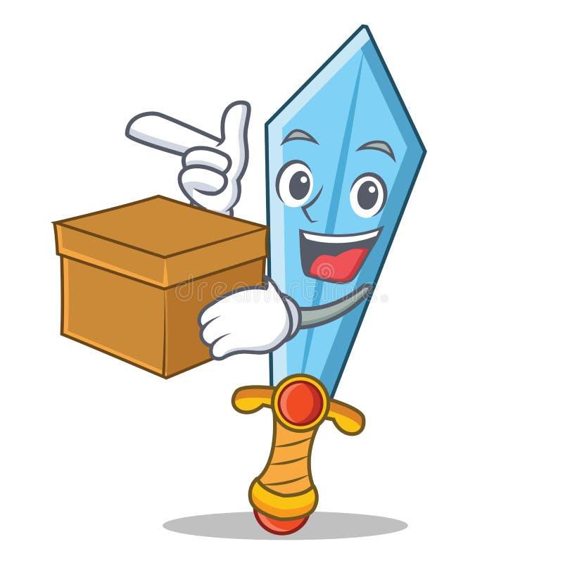 Com estilo dos desenhos animados do caráter da espada da caixa ilustração stock