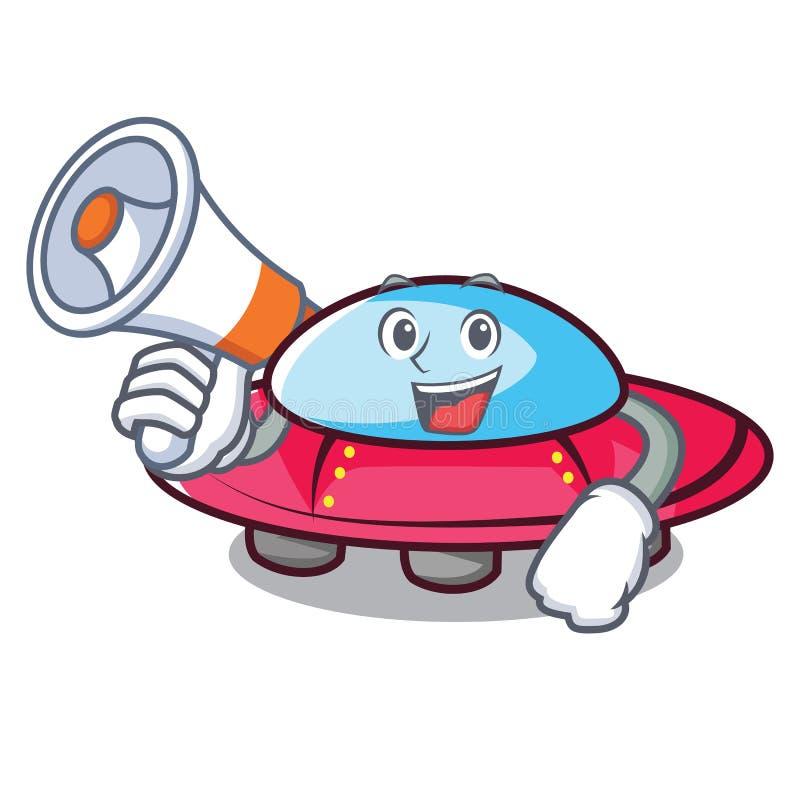 Com estilo dos desenhos animados do caráter do UFO do megafone ilustração do vetor