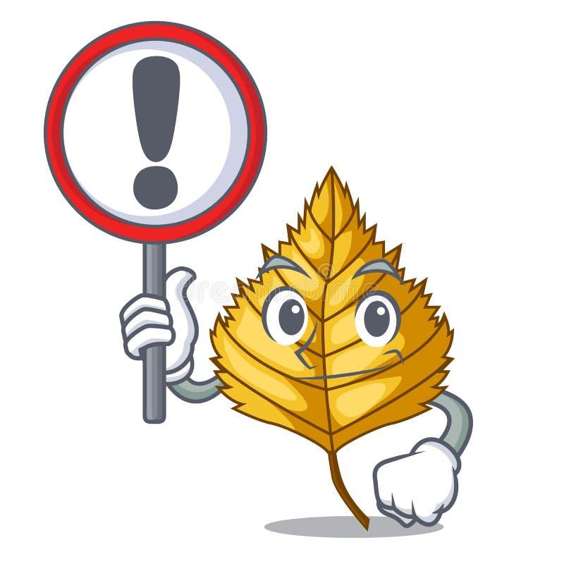Com a folha do vidoeiro do sinal na forma da mascote ilustração stock
