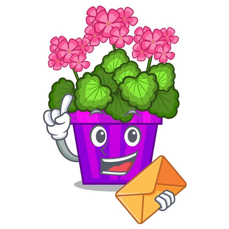 Com gerânio do envelope as flores colam a haste do caráter ilustração stock