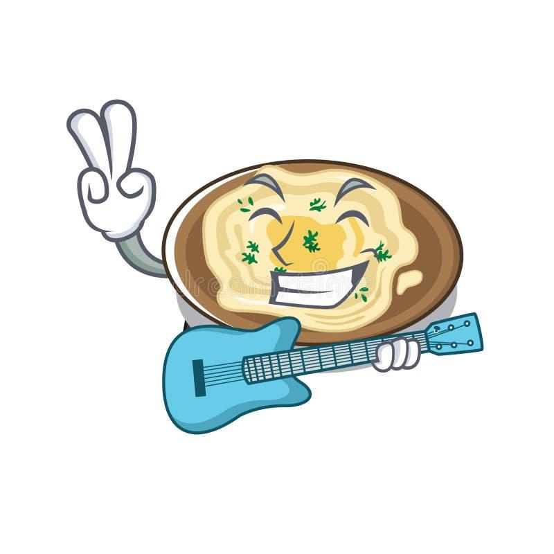 Com húmus de guitarra no prato de um desenho ilustração royalty free