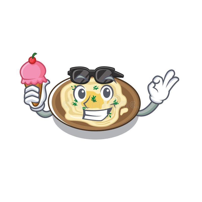 Com húmus de sorvete servido sobre mesa de cartoon de madeira ilustração stock