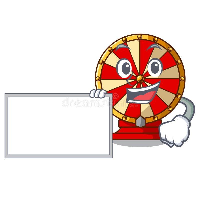 Com jogo da roda de gerencio da placa a forma da mascote ilustração do vetor