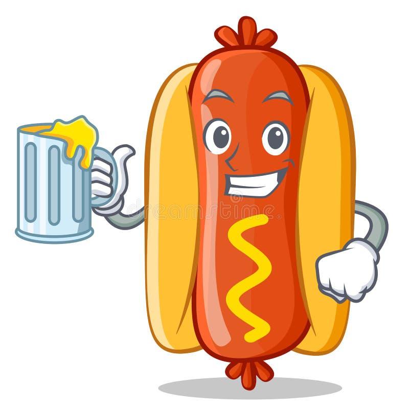 Com Juice Hot Dog Cartoon Character ilustração do vetor