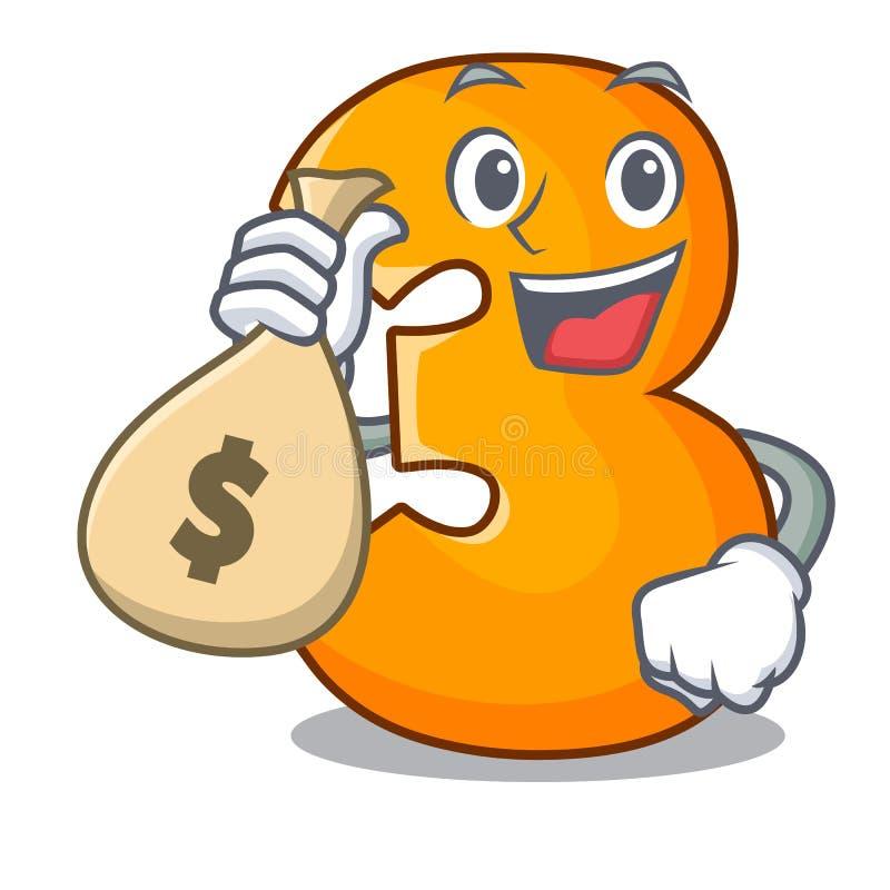Com letra do número três do corte do papel do caráter do saco do dinheiro ilustração do vetor