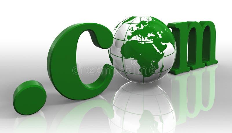 Com logo green word and earth globe. Dot com internet domain logo green word and earth globe with clipping path royalty free illustration