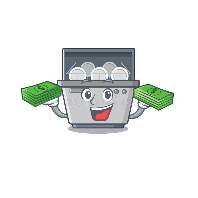 Com a máquina da máquina de lavar louça do saco do dinheiro com a forma de caráter ilustração do vetor