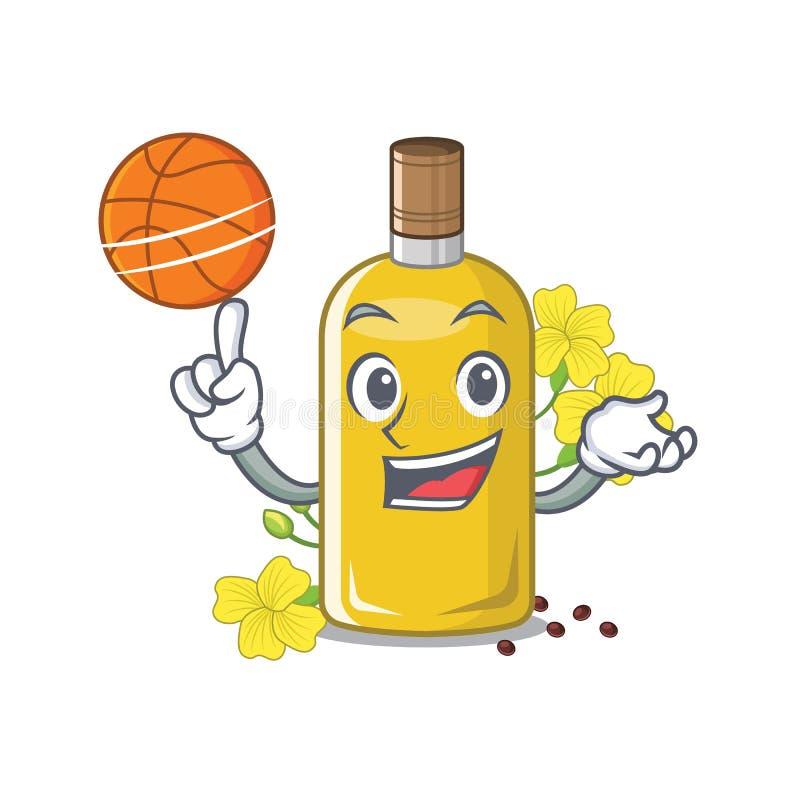Com o óleo do canola do basquetebol isolado com os desenhos animados ilustração royalty free