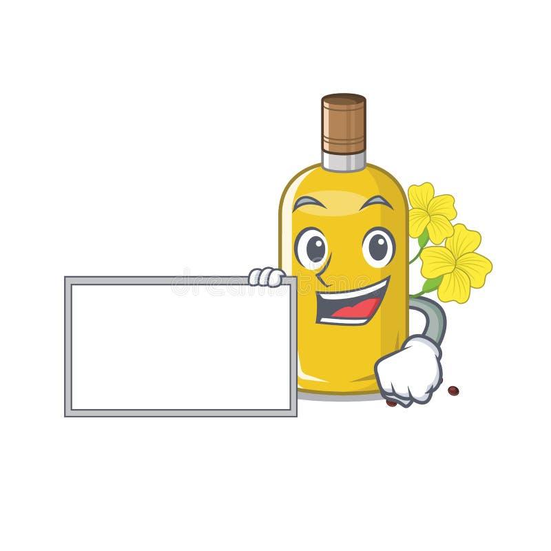 Com o óleo do canola da placa isolado com os desenhos animados ilustração stock