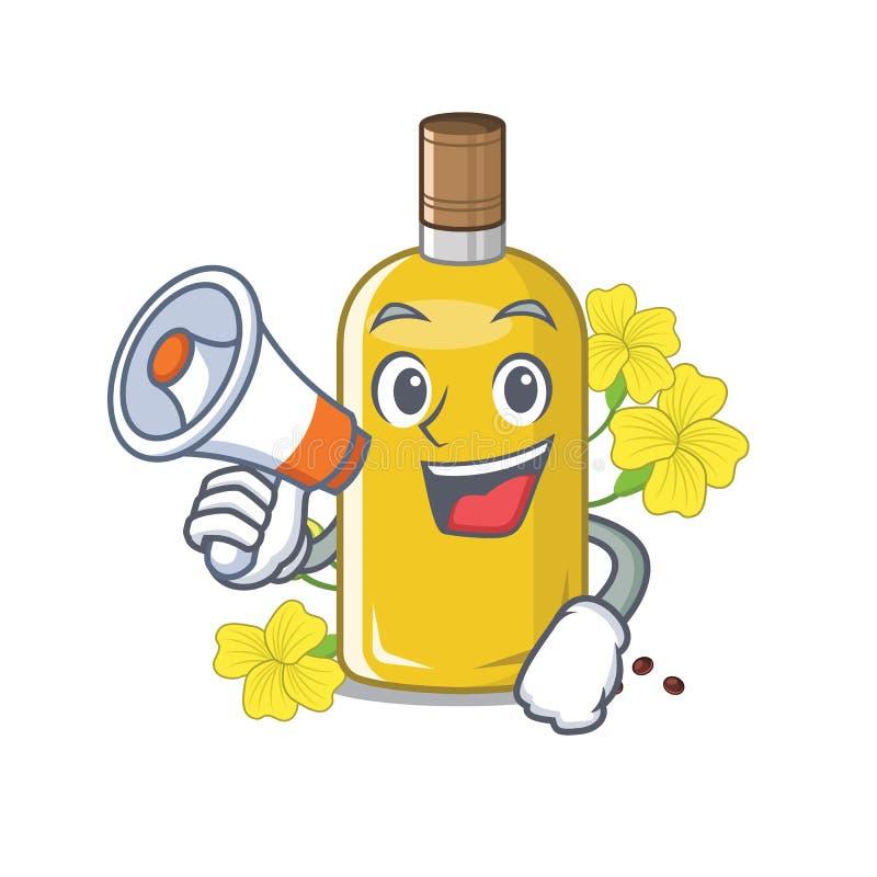 Com o óleo do canola do megafone isolado com os desenhos animados ilustração royalty free