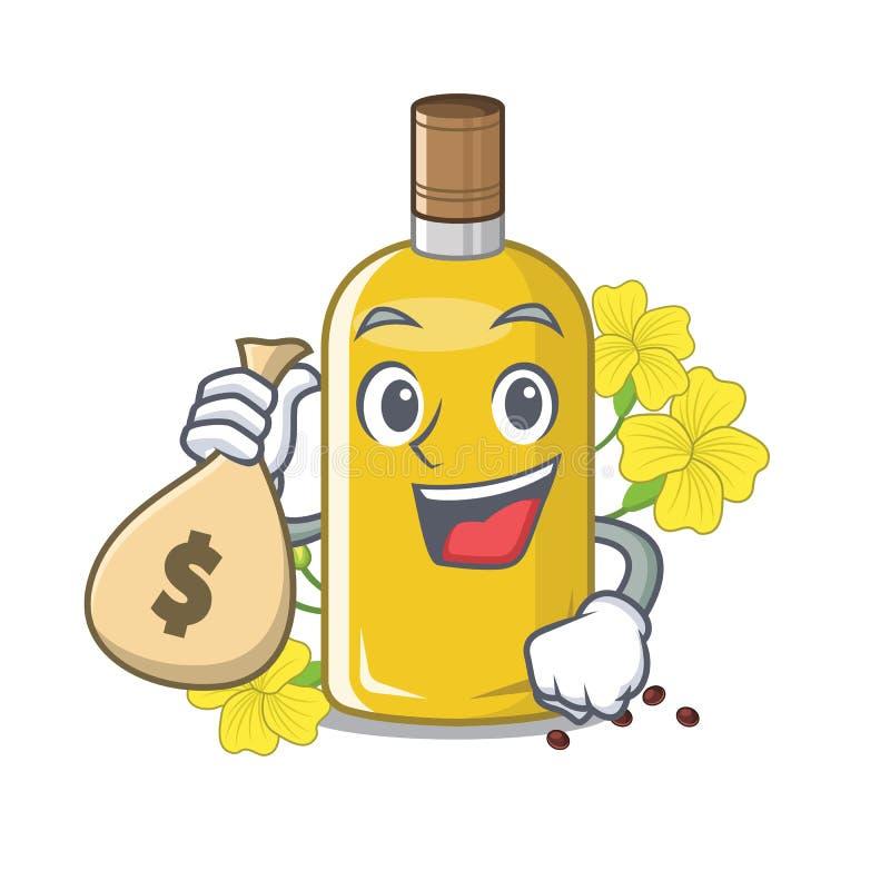 Com o óleo do canola do saco do dinheiro isolado com os desenhos animados ilustração do vetor