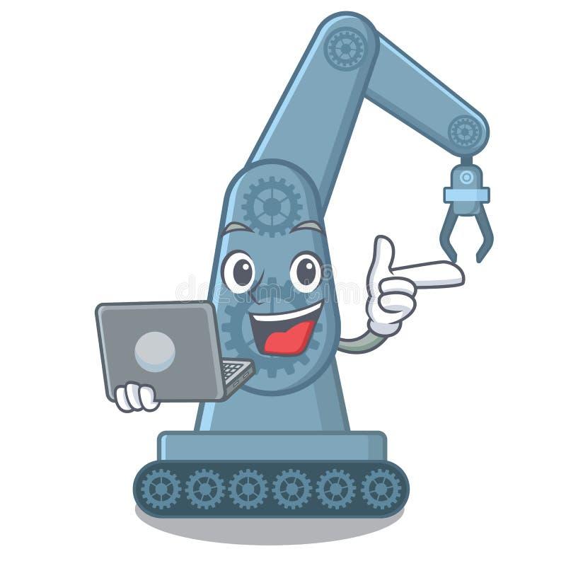 Com o braço robótico mechatronic do portátil isolado no caráter ilustração stock