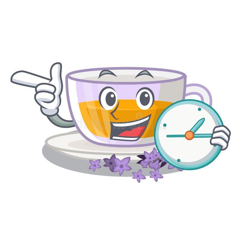 Com o chá da alfazema do pulso de disparo isolado com os desenhos animados ilustração do vetor