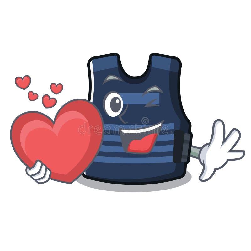 Com o gancho da veste do bulletprof do coração na parede do caráter ilustração do vetor