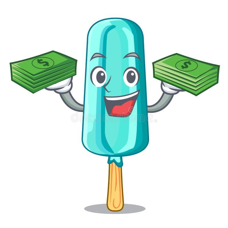 Com o gelado do dinheiro dado forma com desenhos animados da vara ilustração stock