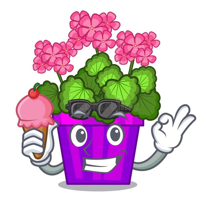 Com o gerânio do gelado as flores colam a haste do caráter ilustração stock