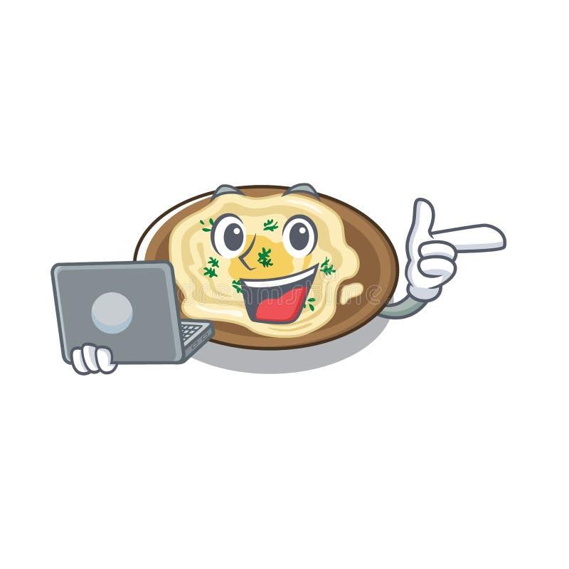 Com o húmus do laptop cozido na frigideira mascot ilustração stock