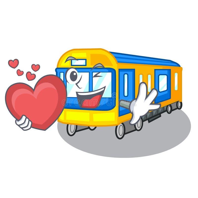 Com o metro do coração isolado nos desenhos animados ilustração stock