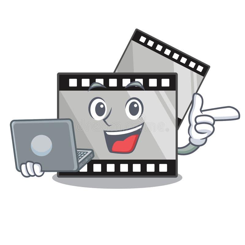 Com o stirep do filme do portátil isolado na mascote ilustração royalty free