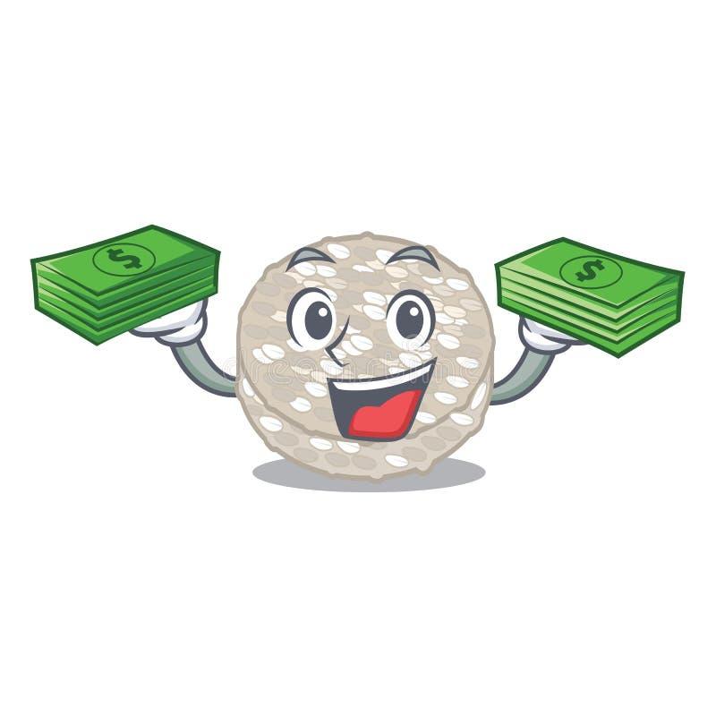 Com os bolos de arroz do saco do dinheiro servidos na placa dos desenhos animados ilustração stock